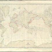 Карта мира с отмеченными маршрутами плаваний Дадьянца А.А.