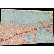 Часть карты с указанием маршрута перегона самолетов